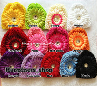 Unisex Summer Crochet Hats Wholesale-12pcs lot Wholesale Infant toddler baby girl 15cm*14cm crochet hat Knitted cap with daisy flowers 19colors Free Shipping