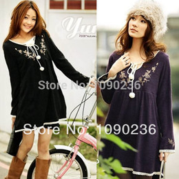 Wholesale Spring Autumn black purple Maternity Clothes loose dress for Pregnant women Full Sleeve sweater clothing