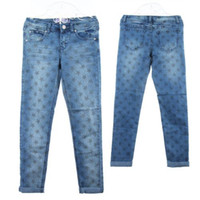 Wholesale Details about Star Long Pants KIDS GIRL S FLORAL Slim fit Jeans Blue Size