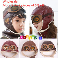 Wholesale pc Hot New Retail children s velvet cotton pilot cap hat kids bomber hats baby boys girl Warm winter cap hat