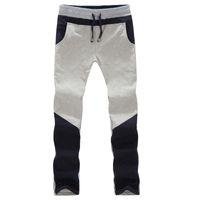 Wholesale 2014 Fall Leisure stitching Slim straight leg slacks big yards Korean men s casual pants light gray