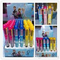 Wholesale Kids Frozen princess Elsa anna colors ballpoint pen ELSA ANNA automatic pen student office stationery Children Cartoon pen FZ76