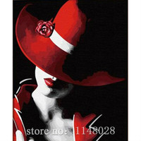 Wholesale DIY D Diamond Painting RED HAT LADY Embroidery Cross Stitch Novelty Item Rhinestone Handmade Pasted Picture Knitting Needlework