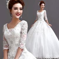 Wholesale Korean princess bride deep V neck long sleeved diamond lace wedding dress winter new bandage tianshi