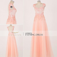 Cheap Reference Images Pink Prom Dresses Best Jewel/Bateau Tulle Long Prom Gown