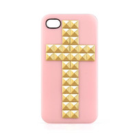 Wholesale Pink Hard Gold Cross Pyramid Studs Case Cover Skin for Apple iPhone s