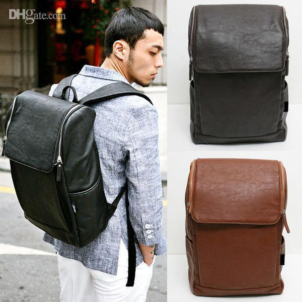 Fashion Womens/Mens PU Leather Backpack FP141 Large Capacity Wide ...