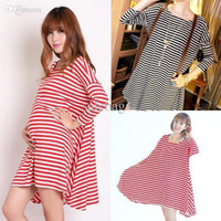 Summer maternity clothes - Women plus size clothes Cotton Maternity clothing dresses striped casual pregnant dress moda XA0001 salebags