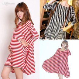 Wholesale Women plus size clothes Cotton Maternity clothing dresses striped casual pregnant dress moda XA0001 salebags