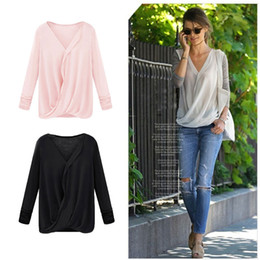 Wholesale Ladies Pink Chiffon Tops - 2016 fall fashion Patchwork White Chiffon tops,Novelty women Wrap Front V Neck blouses,Ladies Long Sleeve Loose t Shirts top G0697