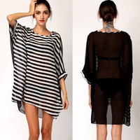 beachwear swimwear bikini - New Sexy Black White Stripes Bikini Cover Up Cover Ups Women Chiffon Oversized Beach Dress Beachwear Swimwear Smock Blouse H2833