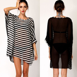 Wholesale Sexy Stripes Dress White Black - New Sexy Black White Stripes Bikini Cover Up Cover-Ups Women Chiffon Oversized Beach Dress Beachwear Swimwear Smock Blouse H2833