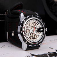 Wholesale Winner Classical Dial Design Silicone Wrist Band Wristwatches Fashion Men s Skeleton Auto Automatic Mechanical Watch H11609