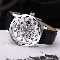 Luxury auto winner - Luxury Hollow Transparent Dial Winner Classic Skeleton Dial Hand Winding Watch Leather Band Strap Mechanical Sport Army Watches Men H11611
