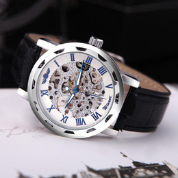 Wholesale Luxury Hollow Transparent Dial Winner Classic Skeleton Dial Hand Winding Watch Leather Band Strap Mechanical Sport Army Watches Men H11611