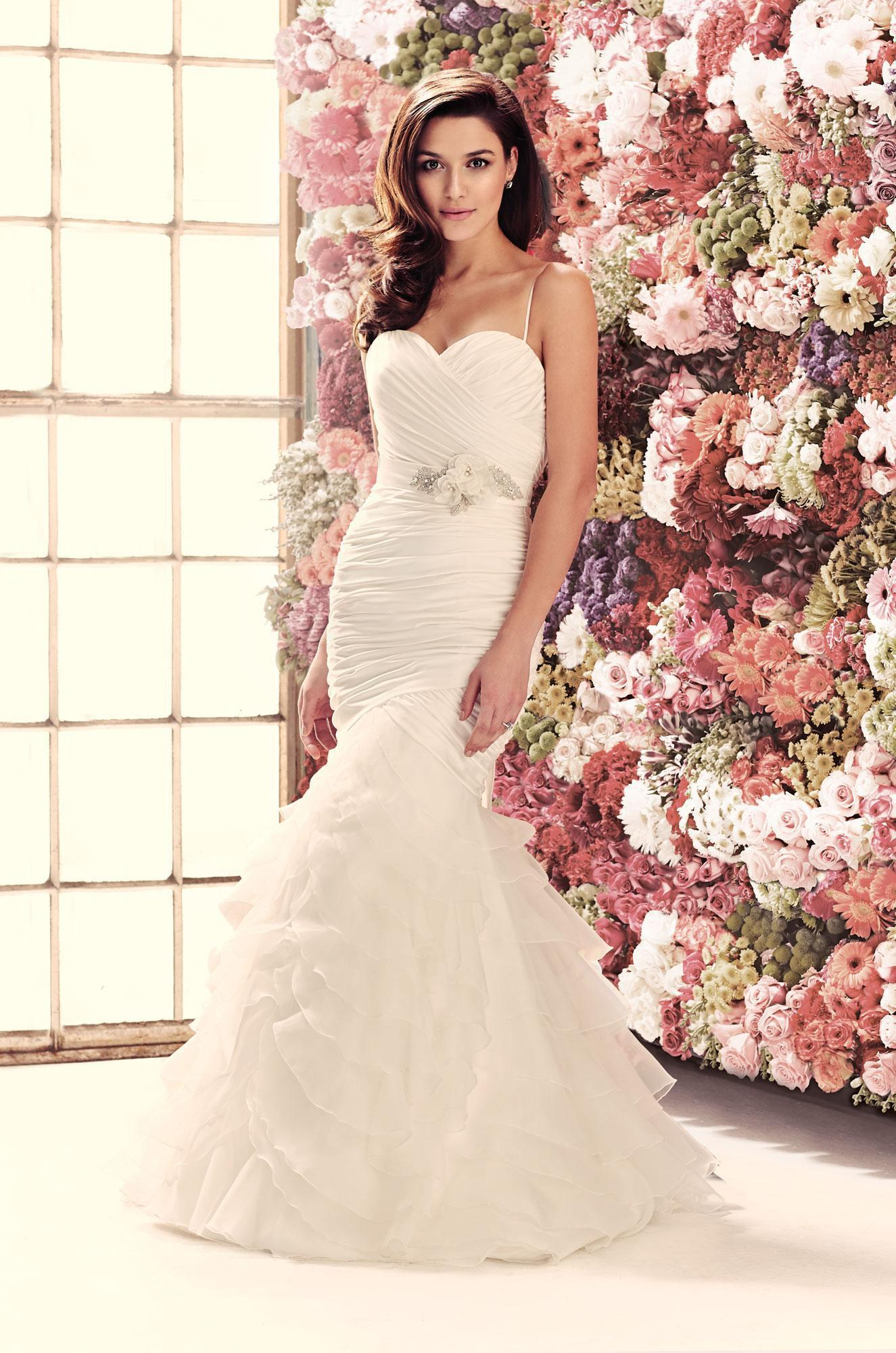 Mermaid wedding dresses cross over ruched soft satin for Mermaid wedding dresses under 500