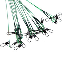 fishing fishing leader - 72pcs Green Stainless Steel Fishing Lure Line Trace Wire Leader Swivel Tackle Spinner Shark Spinning cm H11760