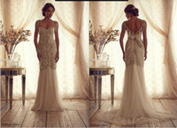 Wholesale Anna Campbell Gorgeous Bridal Gown Hot Sale Vintage Crystal Beaded Beading Soft Tulle Wedding Dresses