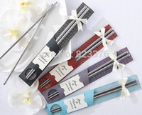 Wholesale DHL Pairs East Meets West Stainless steel chopsticks Chinese style wedding favors gifts
