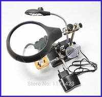 Wholesale Desktop Soldering Solder Iron Stand Station with LED auxiliary clip magnifier mm high powered magnifying glass bracke