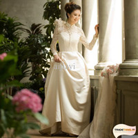 A-Line Model Pictures Bateau Free Shipping Hot Sale Vintage Lace Long Sleeve High Neck Arabic Wedding Dresses Princess Wedding Dress 2013 M yitang
