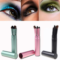 H10780 pony hair - 5PCS Set Professional Pony Hair Eye Makeup Tool Eyeshadow Brushes Set Cosmetic Kit with Round Tube MAKE UP FOR YOU H10780