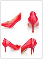 Wholesale 2013 new fashion Size34 thin heel women pumps red retro sexy pointed shoes office ladies