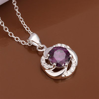 Wholesale 2014 Big Gemstone Pendants Silver Plated Necklaces for Women Ruby Sapphire Crystal Amethyst Necklaces for Fashion Ladies Wedding