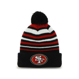 Wholesale New ers Beanies Hot Striped Football Hats Caps Mens Womens Skullcaps Cheap Knitted Hats Top Quality Sports Team Hat Beanies with Pom
