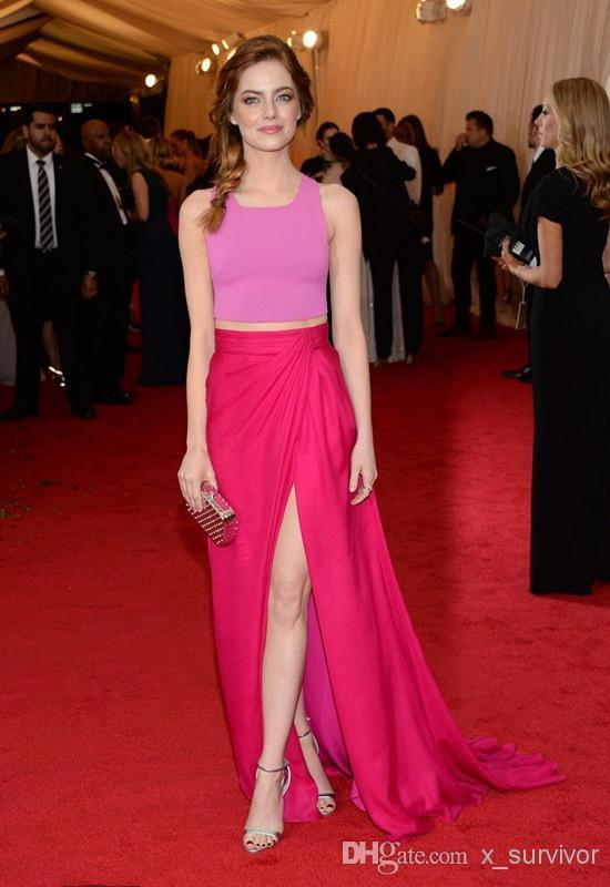 Emma Stone Sweet Dress 2014 Met Gala Two Tones Two Piece Evening ...
