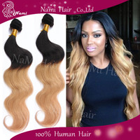Wholesale Hot A Ombre Hair Extensions Brazilian Body Wave TwTwo Tone Colo Tone Color Human Hair Weave B Blonde Brown Burgundy Red