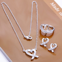 Wholesale Factory Lowest price silver Fashion Jewelry Set silver kelp crystal pendant Necklace ring earrings stud set