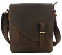 Wholesale 2014 New Vintage brown Crazy Horse leather Men Messenger Bags Fashion Men genuine leather shoulder bags Briefcase