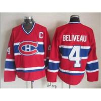 canada - Montreal Beliveau Throwback Canada Red Hockey Jerseys Ice Hockey New Hockey Wears Brand Quality Hot Sale Outdoor Uniform