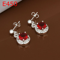 Wholesale new fashion jewelry Silver Luxury Red crystal earrings Promotions price E450