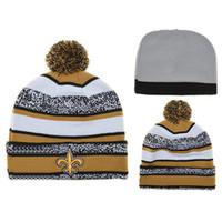 Wholesale Saints Beanies New Arrival Football Team Beanie Caps Sports Team Hats Fashion knitted Beanies with Pom Skulls Beanie Discount Sports Beanies