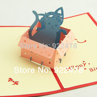 Birthday Cards Sample Retail Paper Wholesale-3D Cube Lovely Cat Box Birthday Greeting Card Gift cards,Chinese traditional Paper cutting 10pcs lot Freeshipping