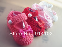 Wholesale Factory directly Crochet Baby Shoes exclusive Handmade Toddlers shoes Infant Girls bowktie shoe for newborns