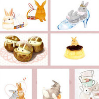 Birthday Cards Sample Retail Cartoon Wholesale-Afternoon Garden soft Bunny Cute Rabbit Season 2 boxed postcard Christmas gift cards Birthday greeting message cards 20pcs lot