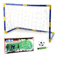 Birth to 24 Months Unisex Basketball Wholesale-New 2014 Kid outdoor fun & sports game soccer world cup toys goal toys for children with a football and Inflator pump outdoor