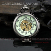 Wholesale Classoc Lead Black Style Mens Magnifying Glass Mechanical Pocket Watch Necklace