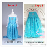 Wholesale Frozen Elsa Queen Princess Cosplay Costume girls dress Party Show long sleeve Skirts for Children Wear With Yarn Cloak two types