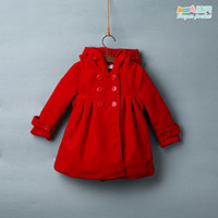Wholesale Sugar pocket Kids Girls hooded quilted coat thick woolen coat jacket baby fall and winter clothes for children of foreign trade