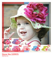 Girl Summer Crochet Hats Wholesale-Free shipping bucket hat 2014 7color new styles Doomagic baby girls flower sun hats big print polka dots cotton hats