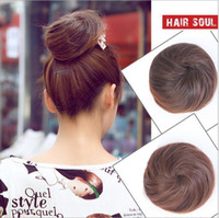 Wholesale Womens Girls Hair Bun Donut Synthetic Scrunchie Hair Bun Cover Bun Cage Bun Wrap Maker Hairpiece Clip in Hair Extension Bride Chignons FJ01
