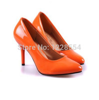 Wholesale Size34 fashion brands Women s candy colored patent leather pointed Thin Heel Pointed shoes work shoes Pumps low shoes