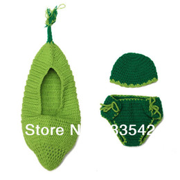 Wholesale Green Bean Pod Boat Handmade Infant Hat Newborn Baby Crochet Beanie Toddler Knitting Outfit Props Photography Cover Costume