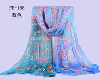 Wholesale The new emulation silk printing large squares South Korea color gradient chiffon is prevented bask in butterfly scarf