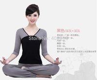 Wholesale Set Yoga wear Yoga women clothing Set T Shirt Pants Bamboo fiber Plus Size M L XL XXL Grey Red