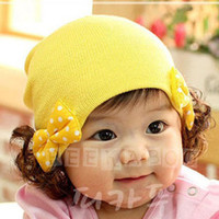 baby boy wigs - Spring and Autumn Kids hats Korean double bow baby wig hat children warm cap headgear baby girls